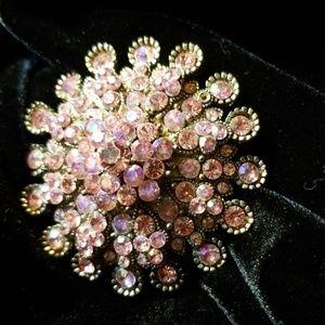 Pink Crystal Brooch